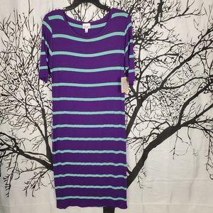 LuLaRoe Julia Dress Purple & Teal Green Stripes